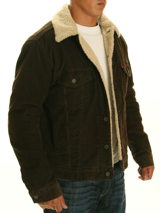 Levis Sherpa Lined Brown Corduroy Jacket - Papikian